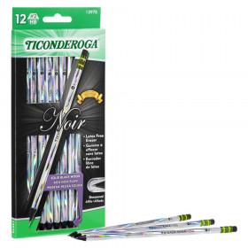 Noir Pencils, Holographic Foil on Black Wood, #2 Soft, Presharpened, Pack of 12