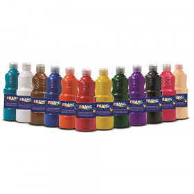Tempera Paint Set, Assorted Colors, 16 oz Bottles, Set of 12