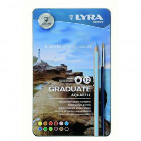 Graduate Aquarell Colored Pencils, Metal Box of 12