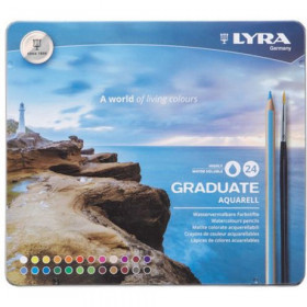 Graduate Aquarell Colored Pencils, Metal Box of 24