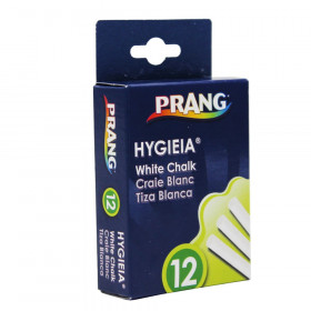 Prang Hygieia Dustless Board Chalk, White, 12/pkg