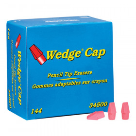 Wedge Pencil Cap Erasers, Pink, Pack of 144