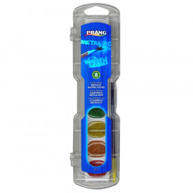 Prang Semi-Moist Washable Watercolor Set, 8 Metallic colors