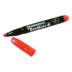 RediMark+ Chisel Tip Permanent Markers, Red, Pack of 12