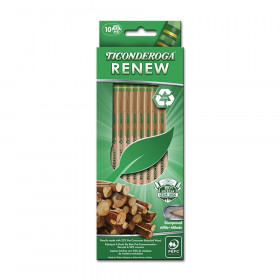 Ticonderoga Renew Recycled Wood Pencils, Pack of 10
