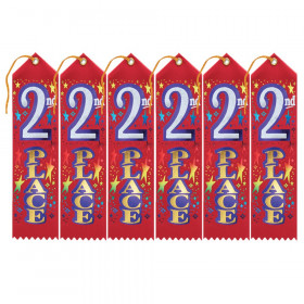 """2nd Place Award Ribbon, 2"""" x 8"""", Pack of 6"""