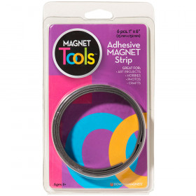 Magnet Strips W Adhesive - 6Pc 1X6