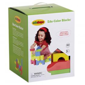 Edu-Color Building Blocks, Assorted Colors & Shapes, 80 Pieces