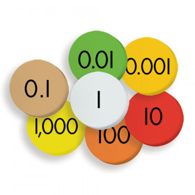 7-Value Decimals To Whole Numbers Place Value Discs Set