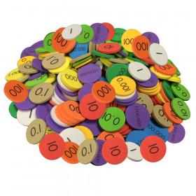 10-Value Decimals to Whole Numbers Place Value Discs, 250 Discs