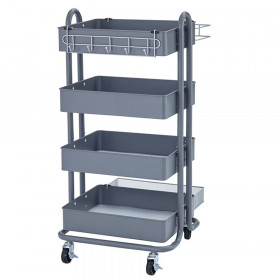 4-Tier Utility Rolling Cart, Gray