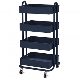 4-Tier Utility Rolling Cart Navy