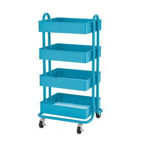 4-Tier Utility Rolling Cart, Turquoise
