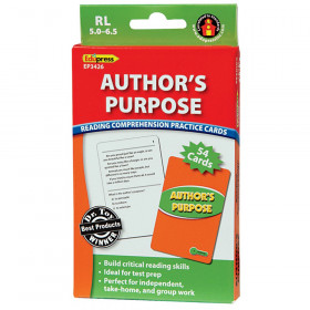 Author's Purpose Reading Comprehension Practice Cards, Green Level (Reading Level 5.0-6.5)