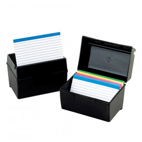 Plastic Index Boxes, 3 X 5, 300 Cards Capacity, Black