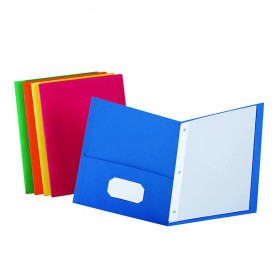 Twin Pocket Folders w/Fasteners, Assorted Colors, Box of 25