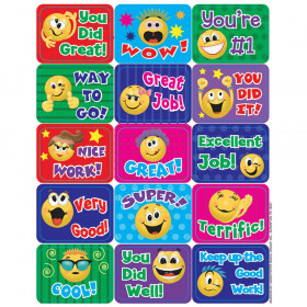 "Emoticons Success Stickers, 5 Designs, 1-3/8"" x 1"", 120/pkg"