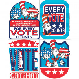 Dr Seuss Cat In The Hat For President Sticker Badges