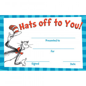 Cat in the Hat Hat's Off to You! Recognition Awards, 36/pkg