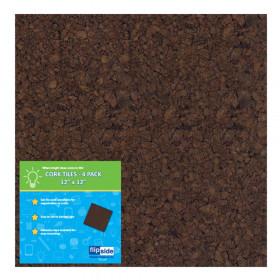 "Dark Cork Tiles, 12"" x 12"", Pack of 4"