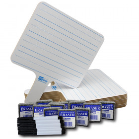 Two-Sided Rectangular Dry Erase Writing Paddles, Pens, and Erasers, Class Pack of 12