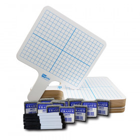 Two-Sided Rectangular Dry Erase Graphing Paddles, Pens, and Erasers, Class Pack of 12