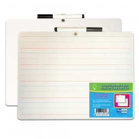 Two Sided Lined/Plain Dry Erase Board w/Marker, Set of 12