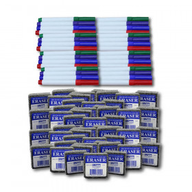 Class Pack of 48 Erasers & 48 Colored Markers