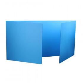 Blue Premium Corrugated Plastic Study Carrel, Pack of 12