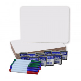 "Dry Erase Boards (9"" x 12""), Colored Pens, and Erasers, 12 of Each"
