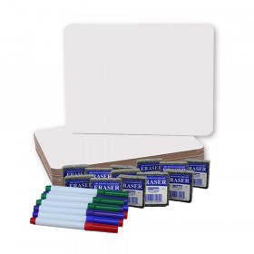 """Magnetic Dry Erase Boards (9"""" x 12""""), Colored Pens, and Erasers, 12 of Each"""
