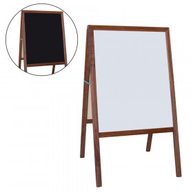 """Stained Marquee Easel with White Dry Erase/Black Chalkboard, 42"""" H x 24"""" W"""