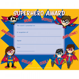 "Superhero Award Certificate, 8.5"" x 11"", Pack of 30"