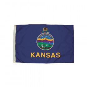 3x5' Nylon Kansas Flag Heading & Grommets