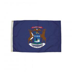 3x5' Nylon Michigan Flag Heading & Grommets