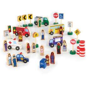 Community & Roadway Essentials, Wooden Figure Play Set, 36 Pieces