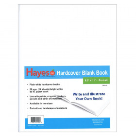 "Plain white hardcover blank book, 28 pages (14 sheets) Measures 8.5""w x 11""h"