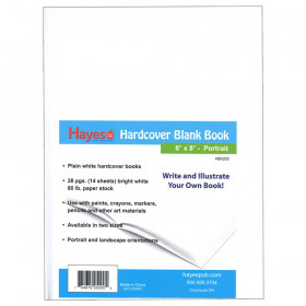 "Hardcover Blank Book, White, 28 pages (14 sheets), 6""W x 8""H"