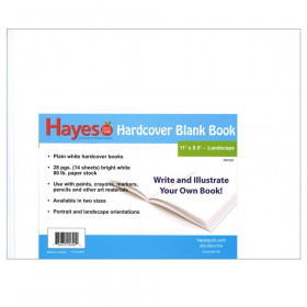 """Plain white hardcover blank book, 28 pages (14 sheets) Measures 11""""w x 8.5""""h"""