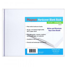 "Plain white hardcover blank book, 28 pages (14 sheets) Measures 8"" w x 6"" h"