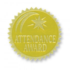 Gold Foil Embossed Seals, Attendance Award, 54 Per Pack