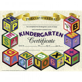 """Kindergarten Certificate, 8.5"""" x 11"""", Pack of 30"""