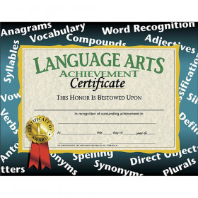 "Language Arts Achievement Certificate, 8.5"" x 11"", Pack of 30"