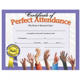 "Certificate of Perfect Attendance, 8.5"" x 11"", Pack of 30"