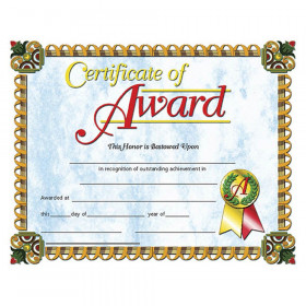 "Certificate of Award, 8.5"" x 11"", Pack of 30"