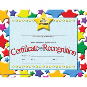 """Certificate of Recognition, 8.5"""" x 11"""", Pack of 30"""