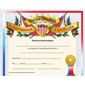 Social Studies Achievement 30Pk Certificates 8.5 X 11 Inkjet Laser