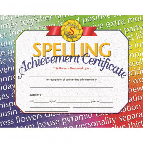 "Spelling Achievement Certificate, 8.5"" x 11"", Pack of 30"