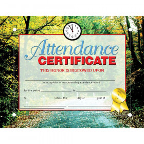 """Attendance Certificate, 8.5"""" x 11"""", Pack of 30"""