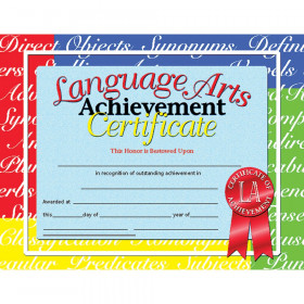 Language Arts Achievement Certificate, 30/pkg